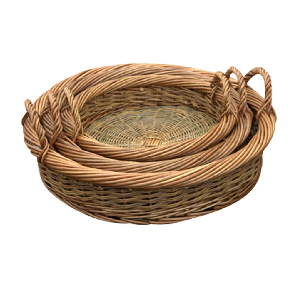 Set of 3 Round Green Willow Trays