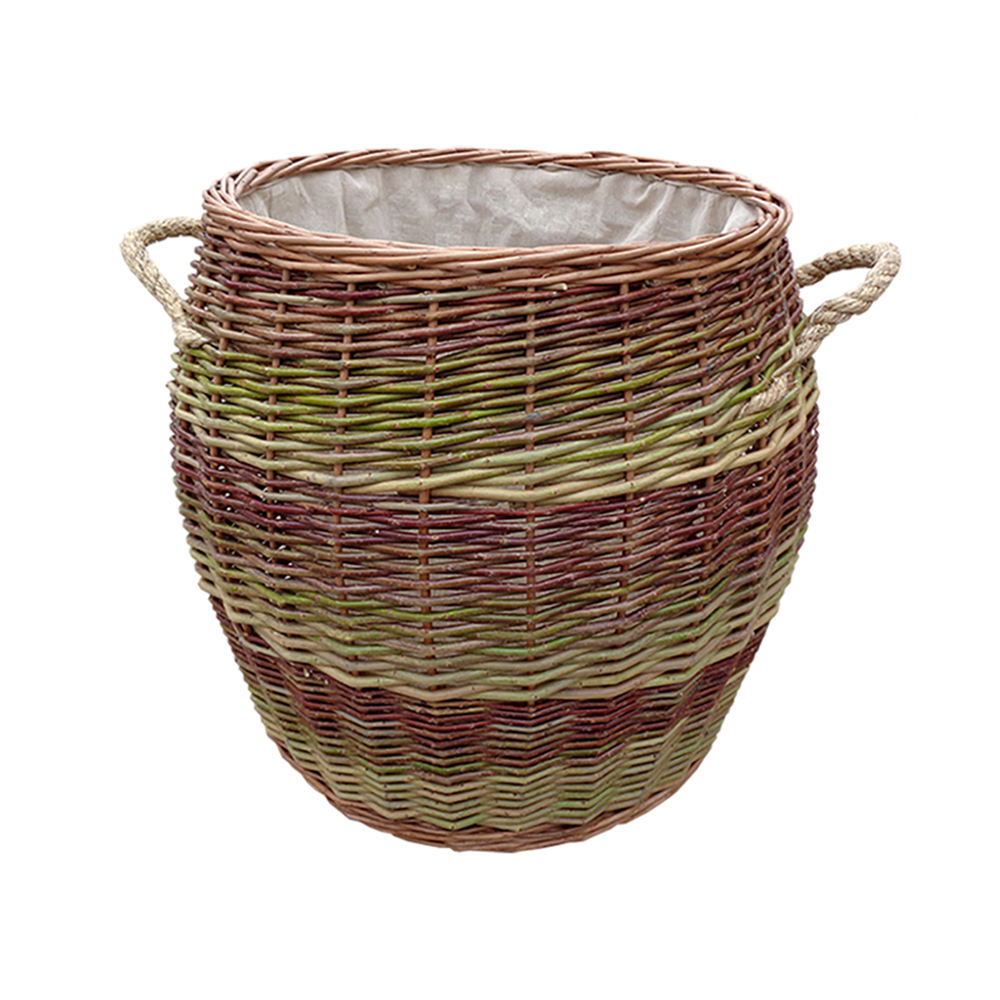 Rope Handle Wicker Barrel Log Basket