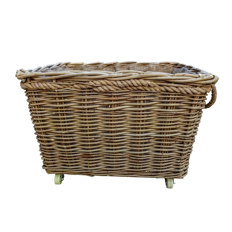 Extra Large Rope Handle Wicker Log Basket on Wheels