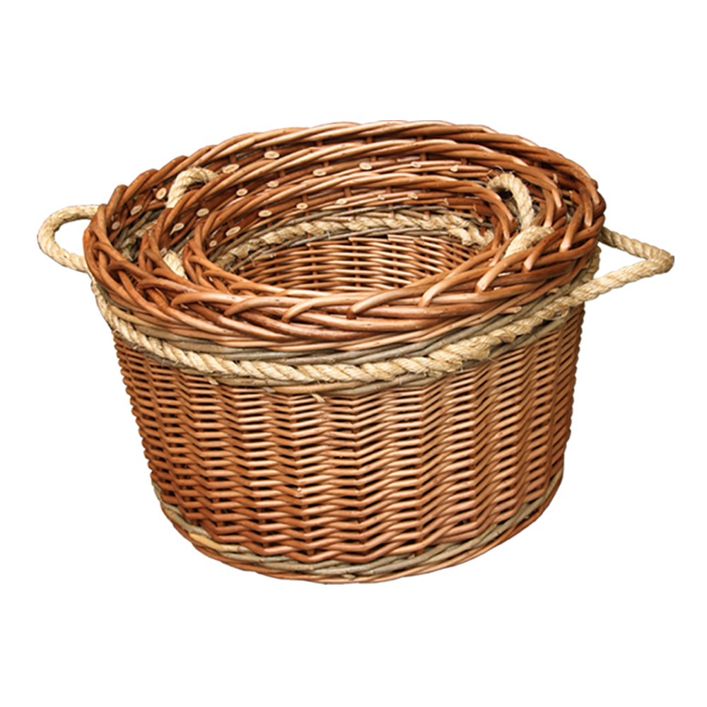 Set of 3 Buff Rope Handled Log basket