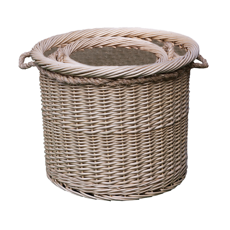 Set of 3 Deluxe Rope Handled Lined Log basket