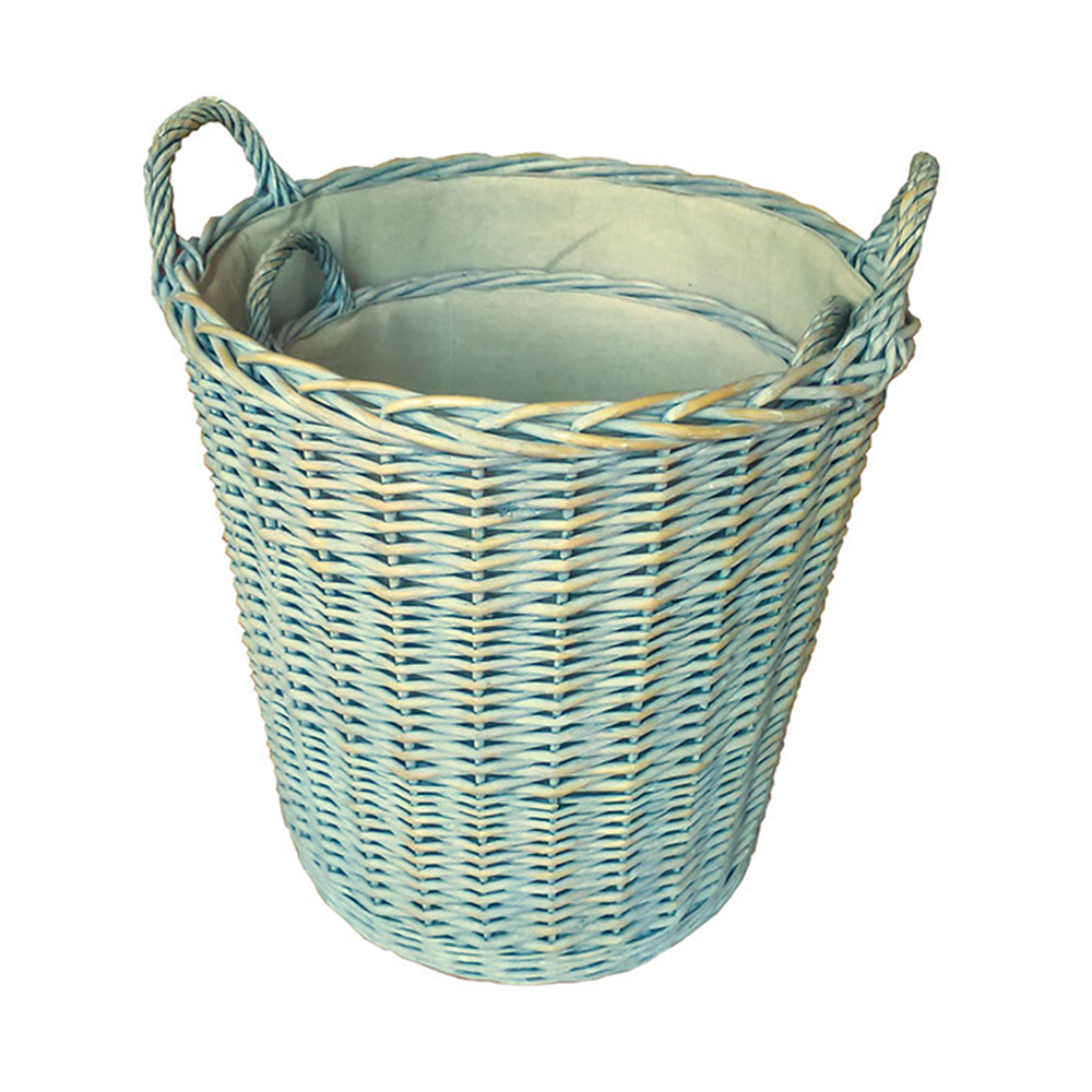 Set of 2 Heavy Duty Provence Lined Log basket