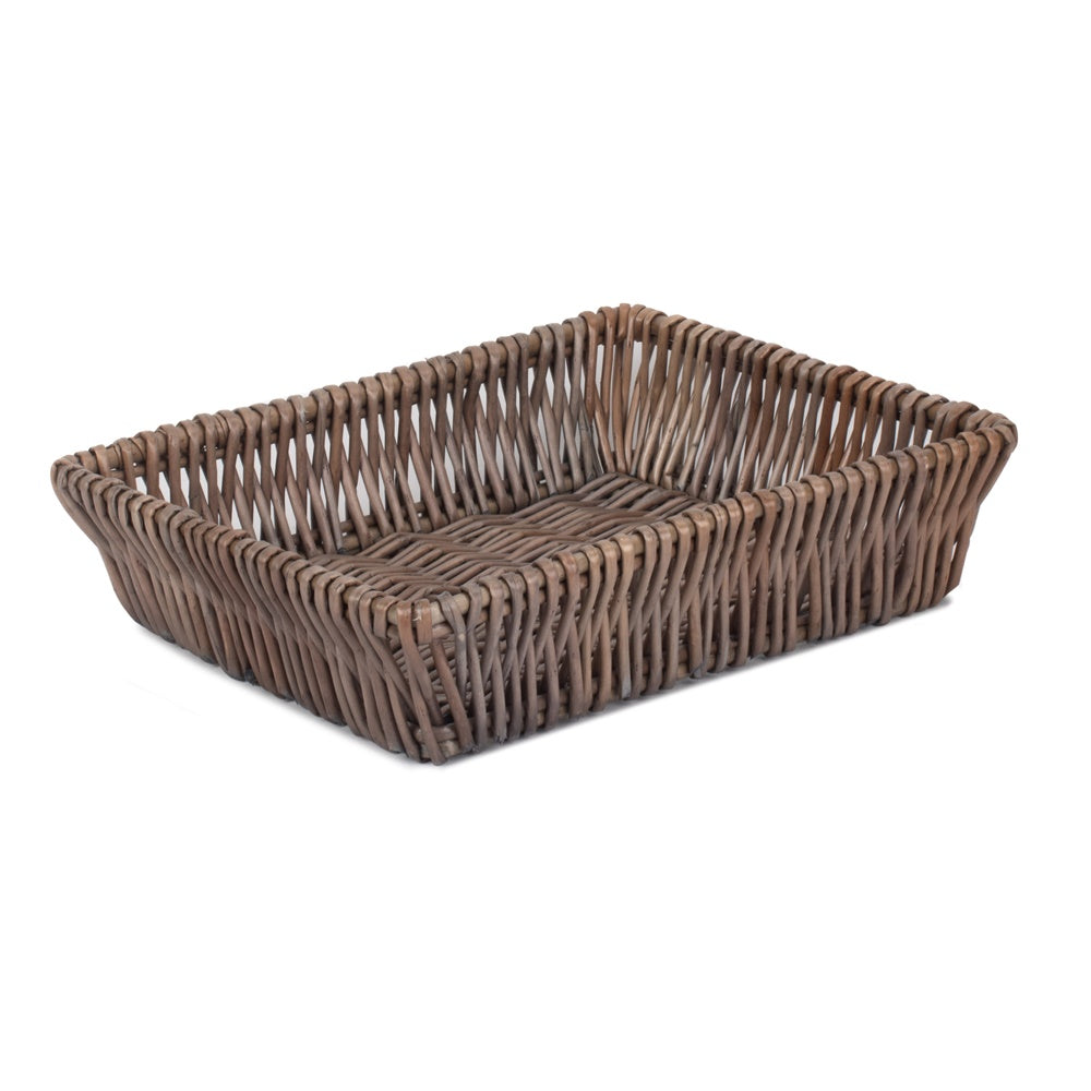 Large Shallow Tapered Antique Wash Wicker Tray
