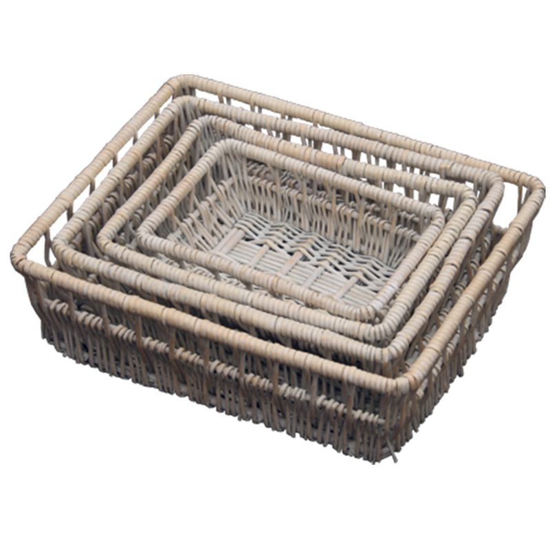 Set of 4 Provence Wicker Shallow Storage Baskets