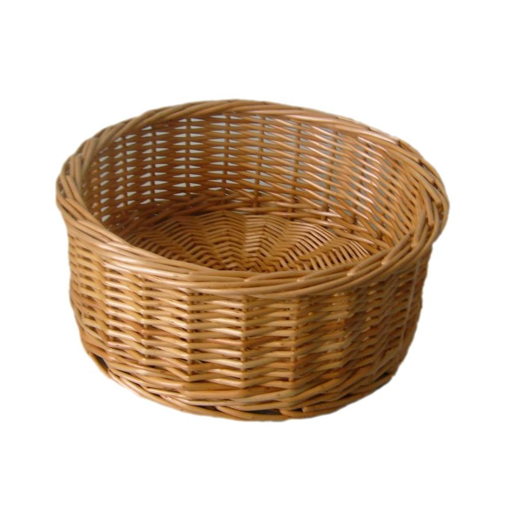 Round Straight-Sided Wicker Tray