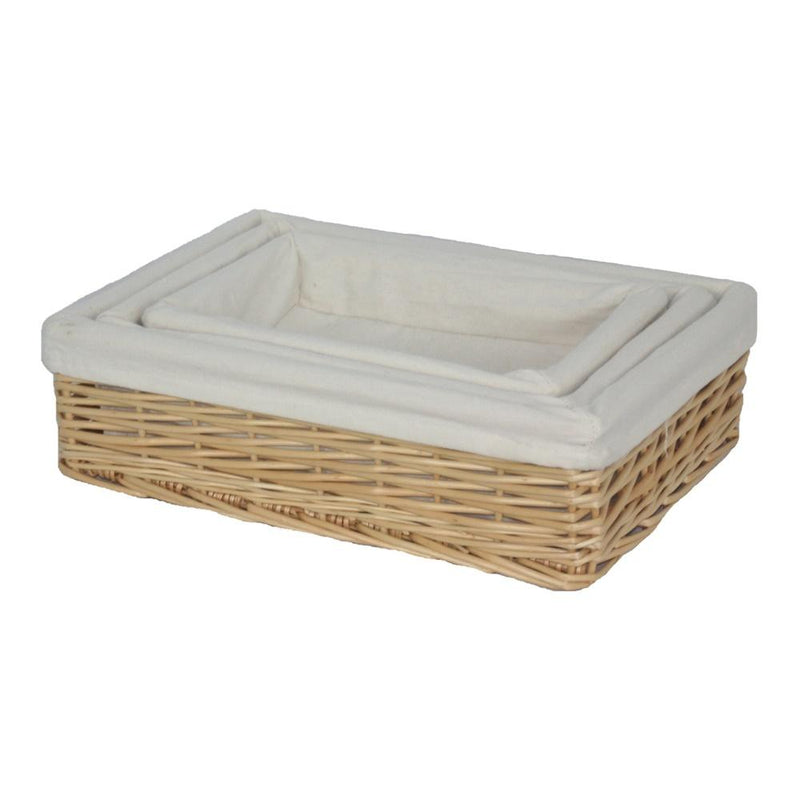 Cotton Lined Rectangular Straight-Sided Wicker