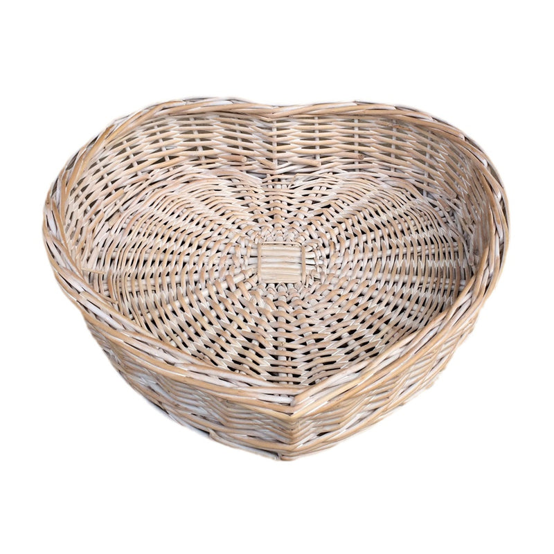 White Wash Heart Shaped Wicker