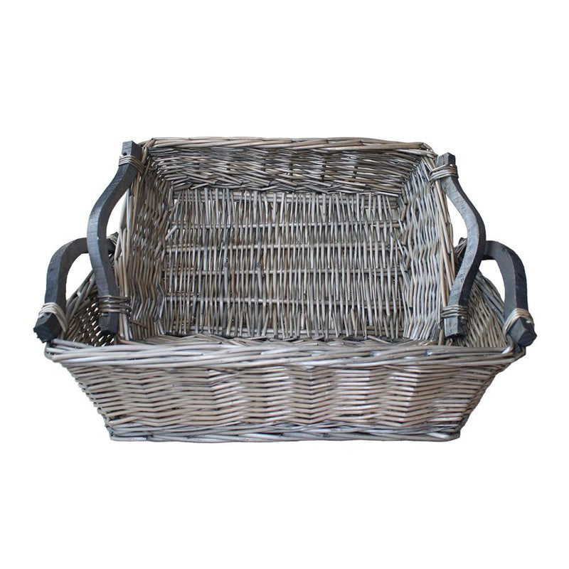 Antique Wash Wicker Tray with Wooden Handle