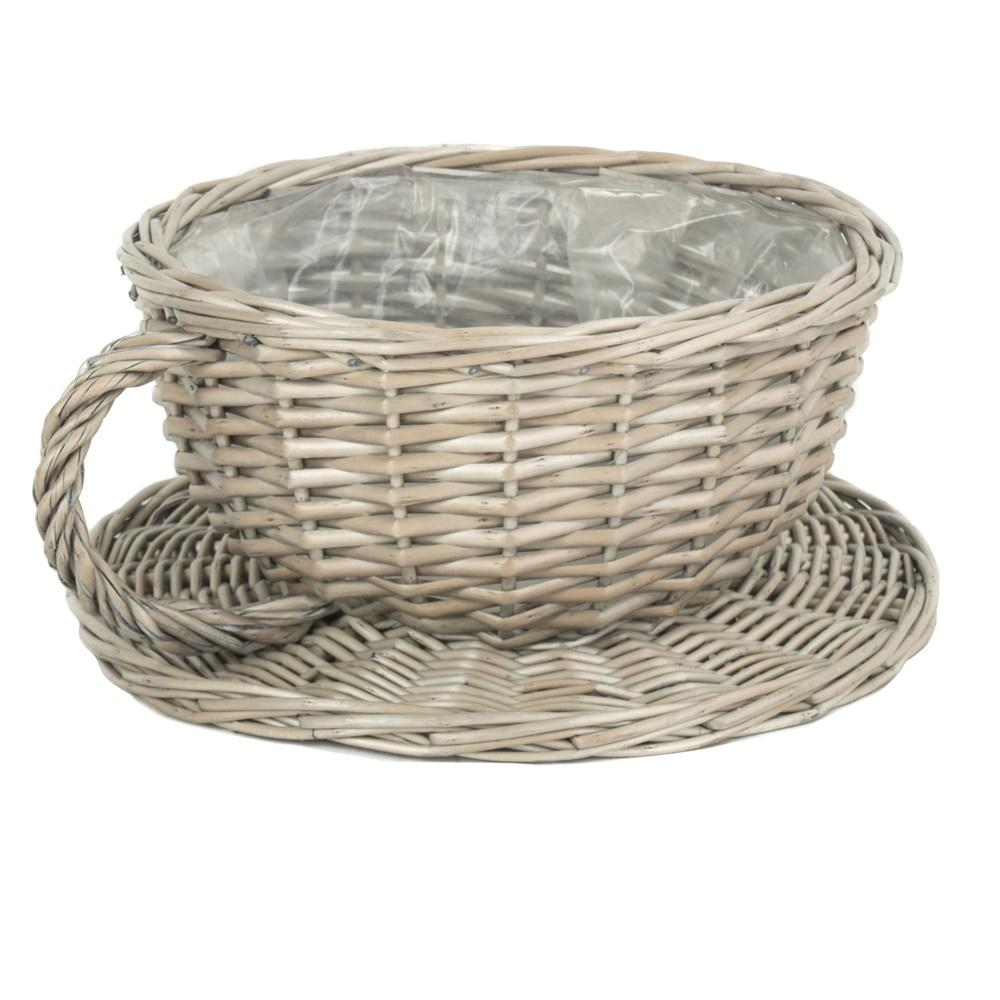 Antique Wash Tea Cup Wicker Basket