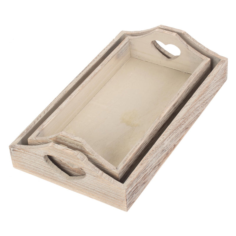 Shallow Wooden Heart Cut Out Tray