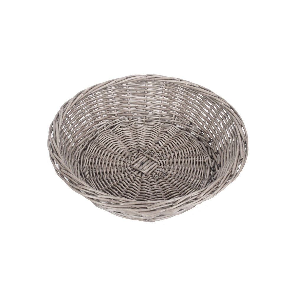 Antique Wash Round Wicker Packing Tray