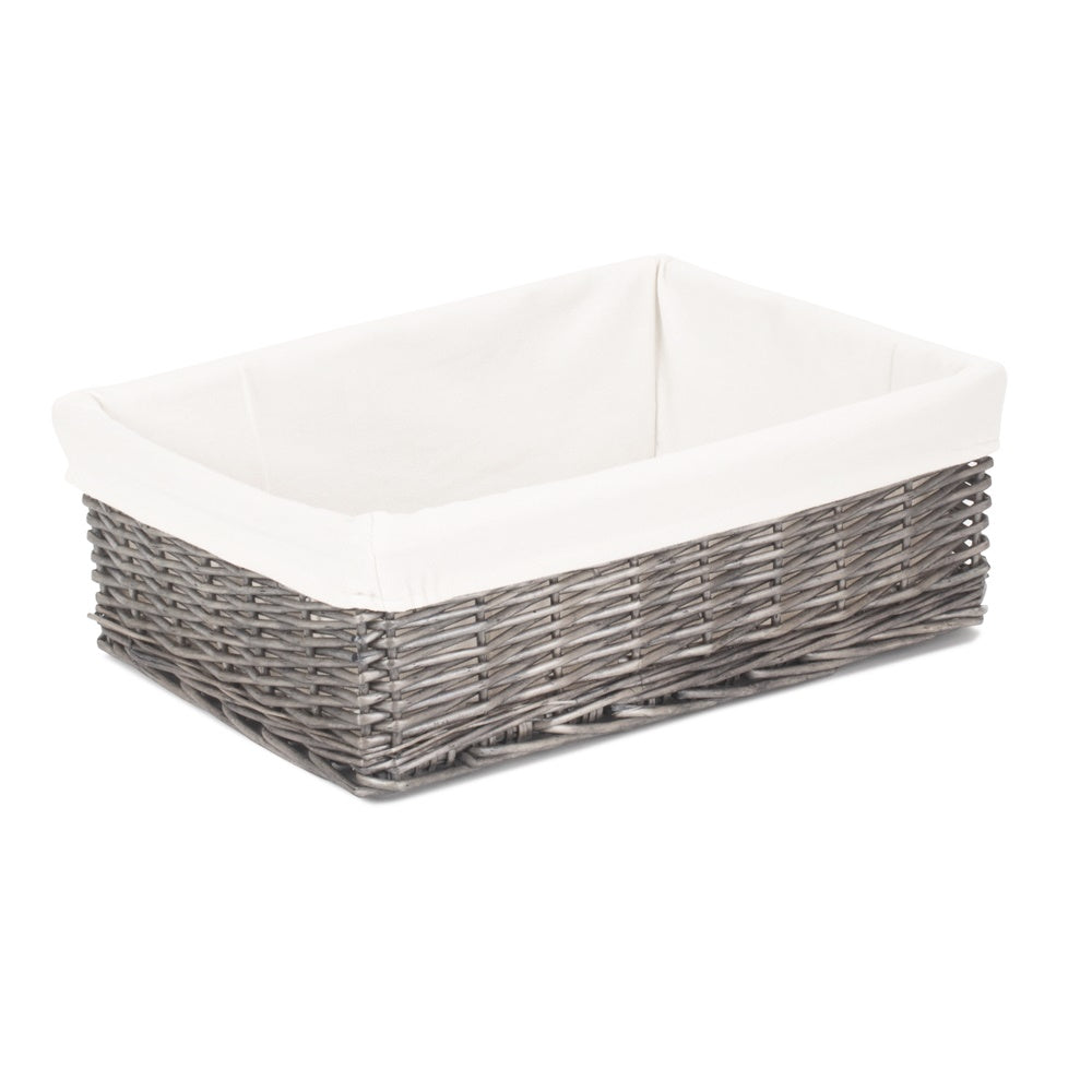 Cotton Lined Large Antique Wash Finish Wicker Tray