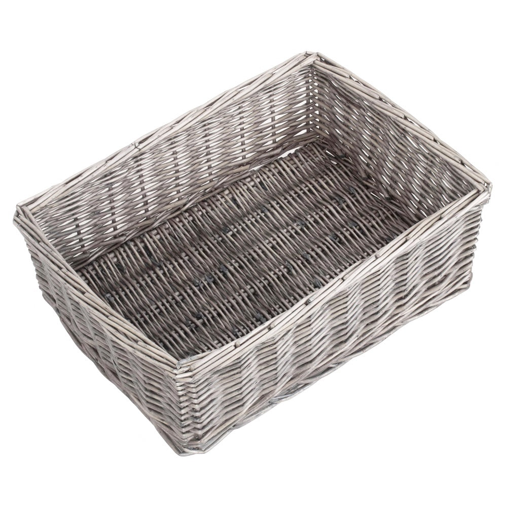 Large Antique Wash Finish Wicker Tray