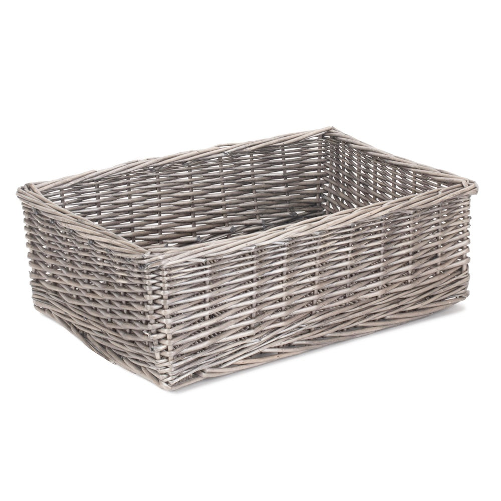 Extra Large Antique Wash Finish Wicker Tray