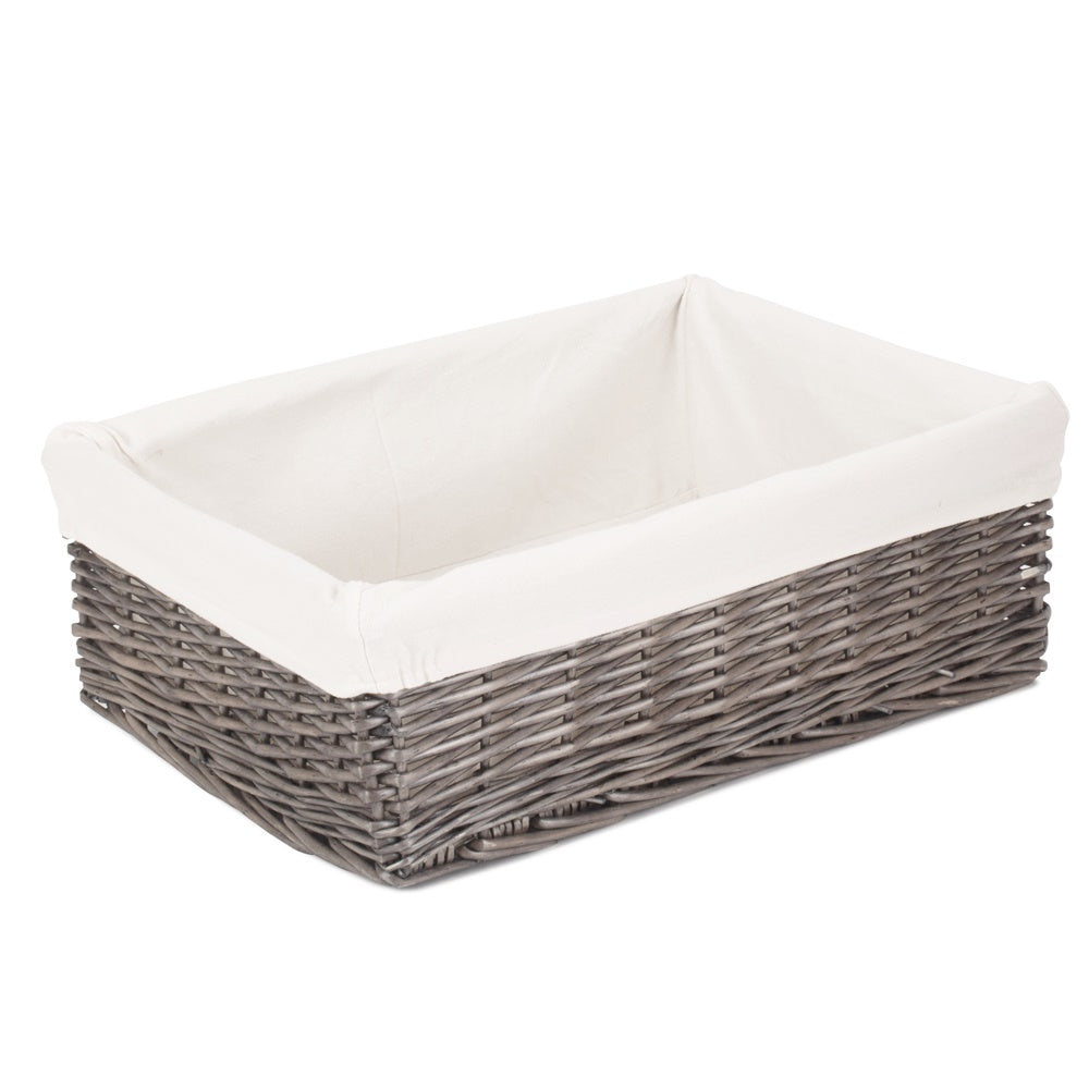 Cotton Lined Extra Large Antique Wash Finish Wicker Tray