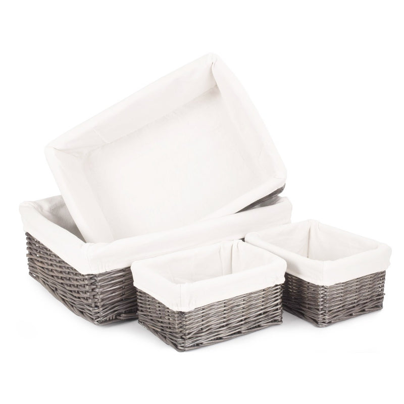 Set of 4 Cotton Lined Antique Wash Finish Wicker Tray