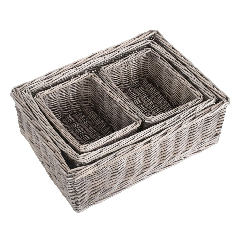 Set of 4 Antique Wash Finish Wicker Tray