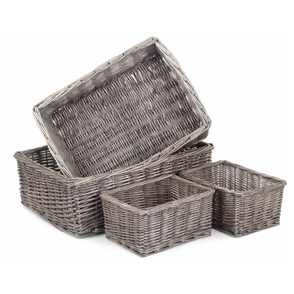 Antique Wash Finish Wicker Tray