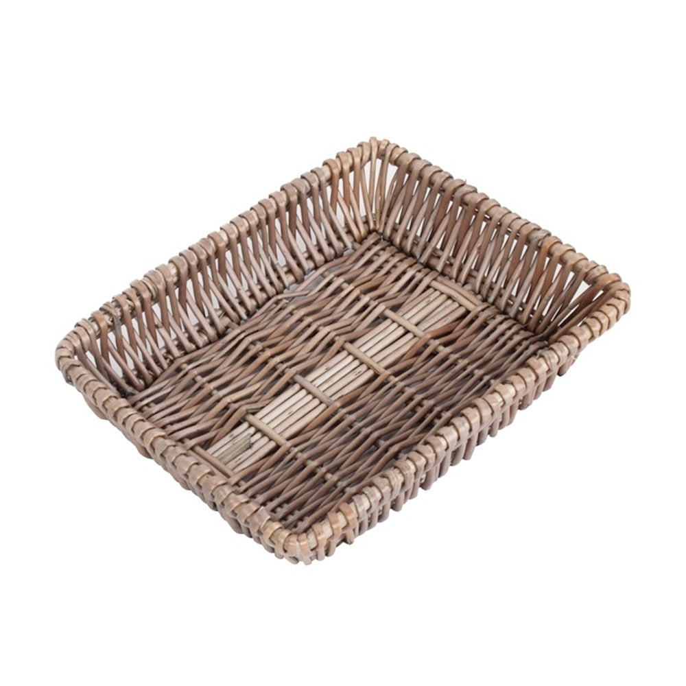 Shallow Tapered Antique Wash Wicker Tray