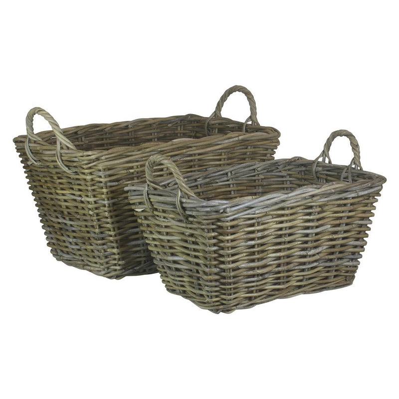 Rectangular Grey Rattan Floor Storage Basket