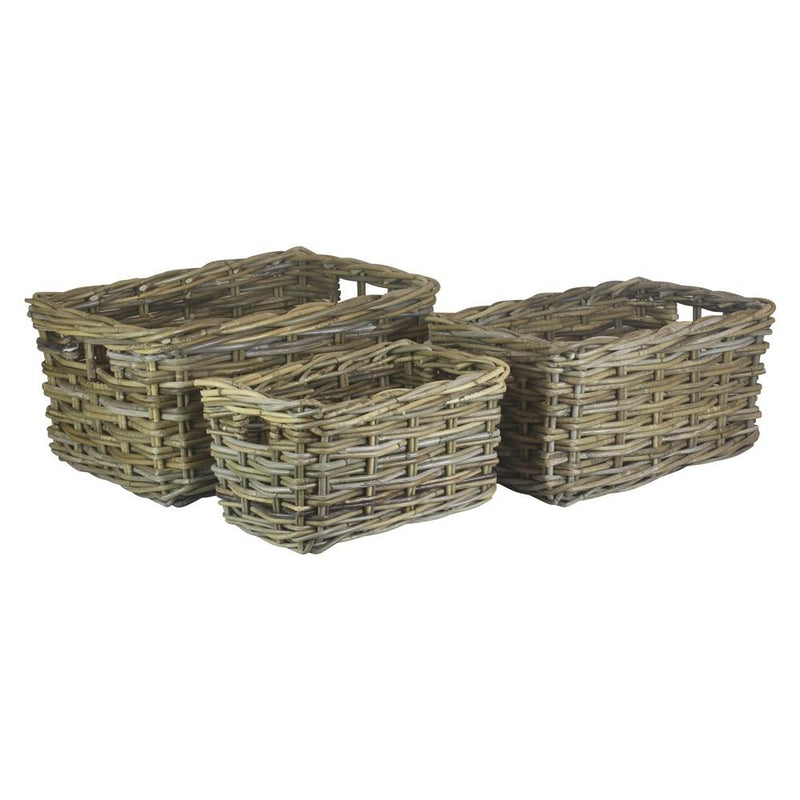 Rectangular Grey Rattan Storage Baskets