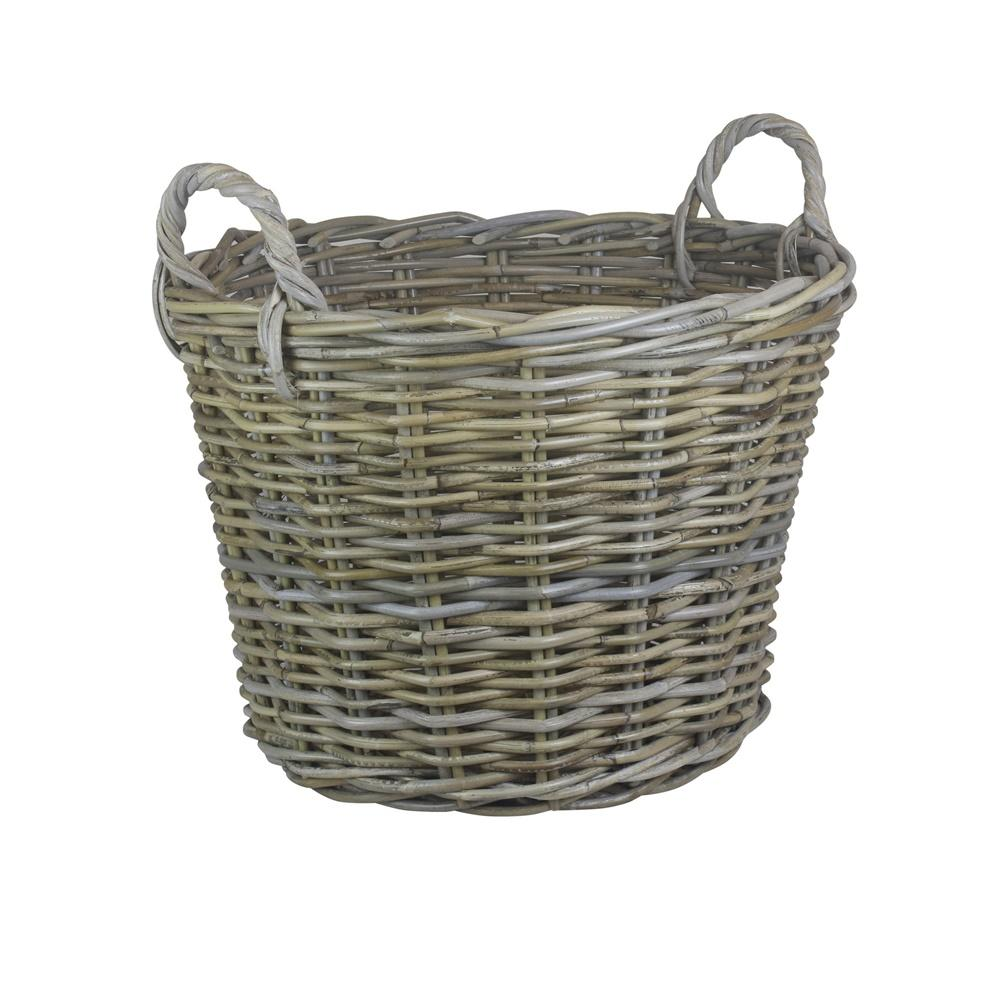 Round Grey Rattan Log Basket