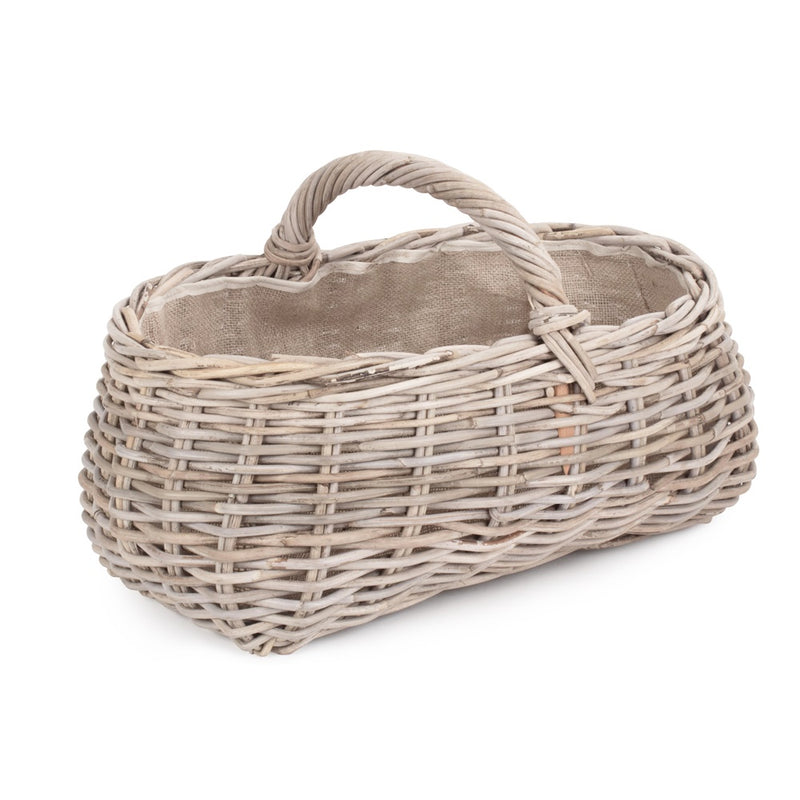 Grey Rattan Market Basket with Hessian Lining