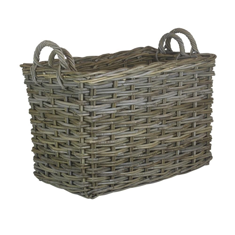 Rectangular Grey Rattan Hallway Log Basket