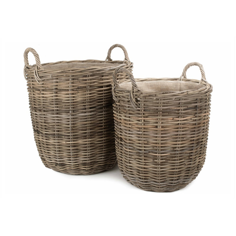 Hessian Lined Tall Round Fireside Rattan Log Basket