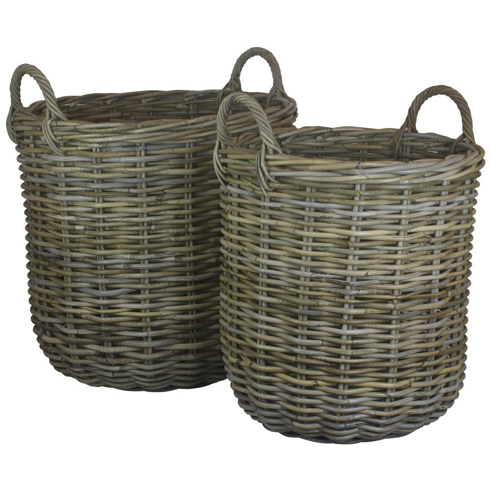 Tall Round Fireside Grey Rattan Log Basket