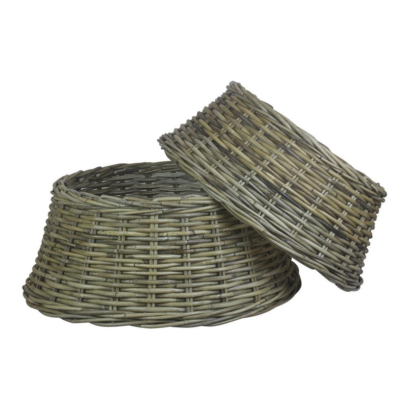 Grey Kubu Rattan Christmas Tree Skirt