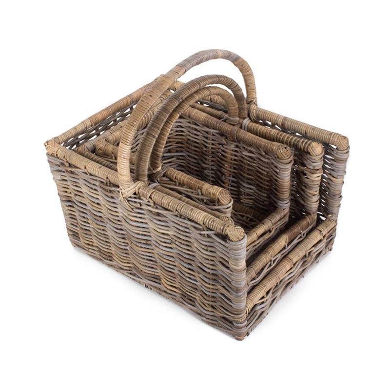 Kubu Grey Rattan Open Ended Log Basket