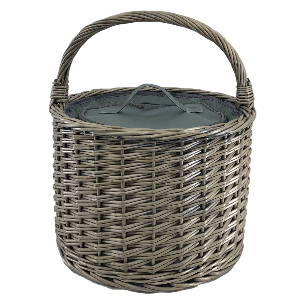 Round Grey Chiller Wicker Picnic Basket