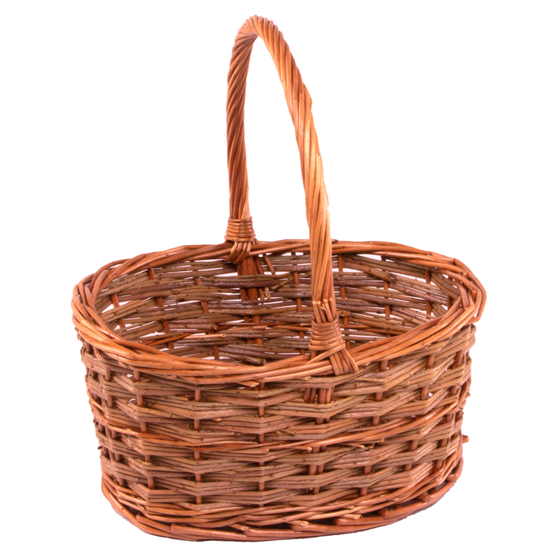 Small Rustic Oval Shopping Basket