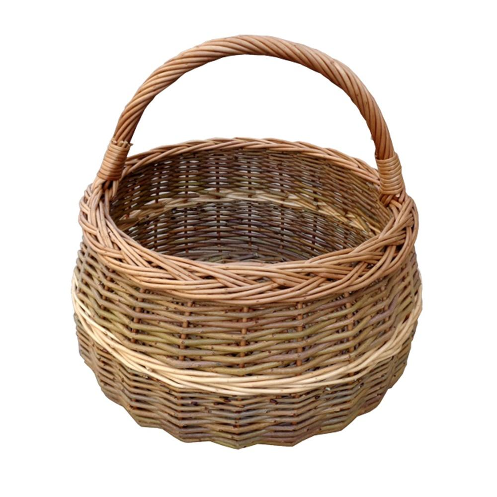 Round Wicker Shallow Shopping Basket
