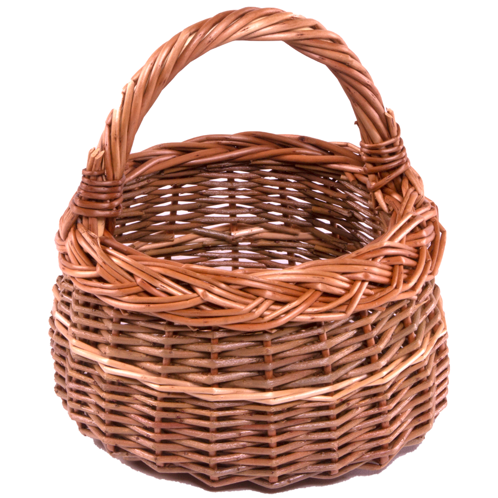 Small Round Wicker Shallow Shopping Basket