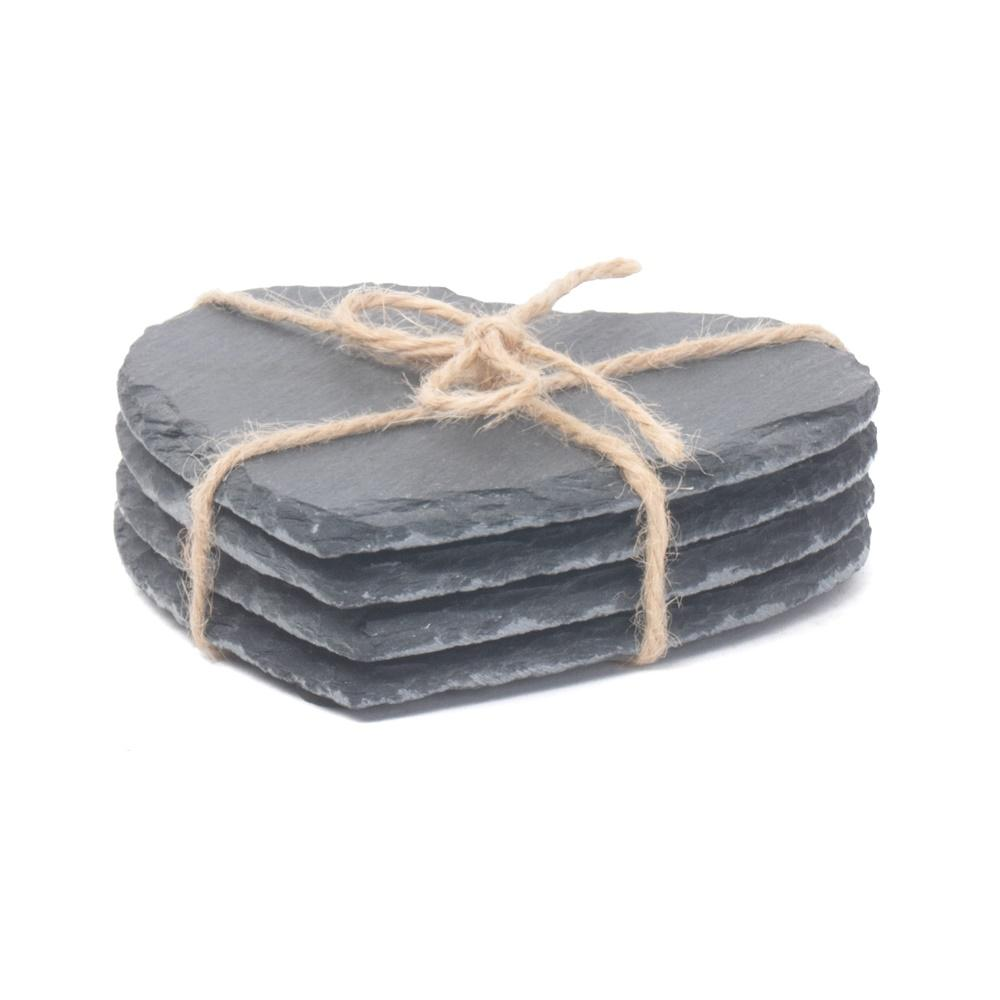 Drinks Heart-Shaped Slate Coaster Set 4