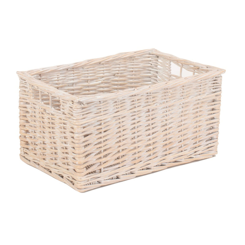 White Wash Storage Wicker Basket