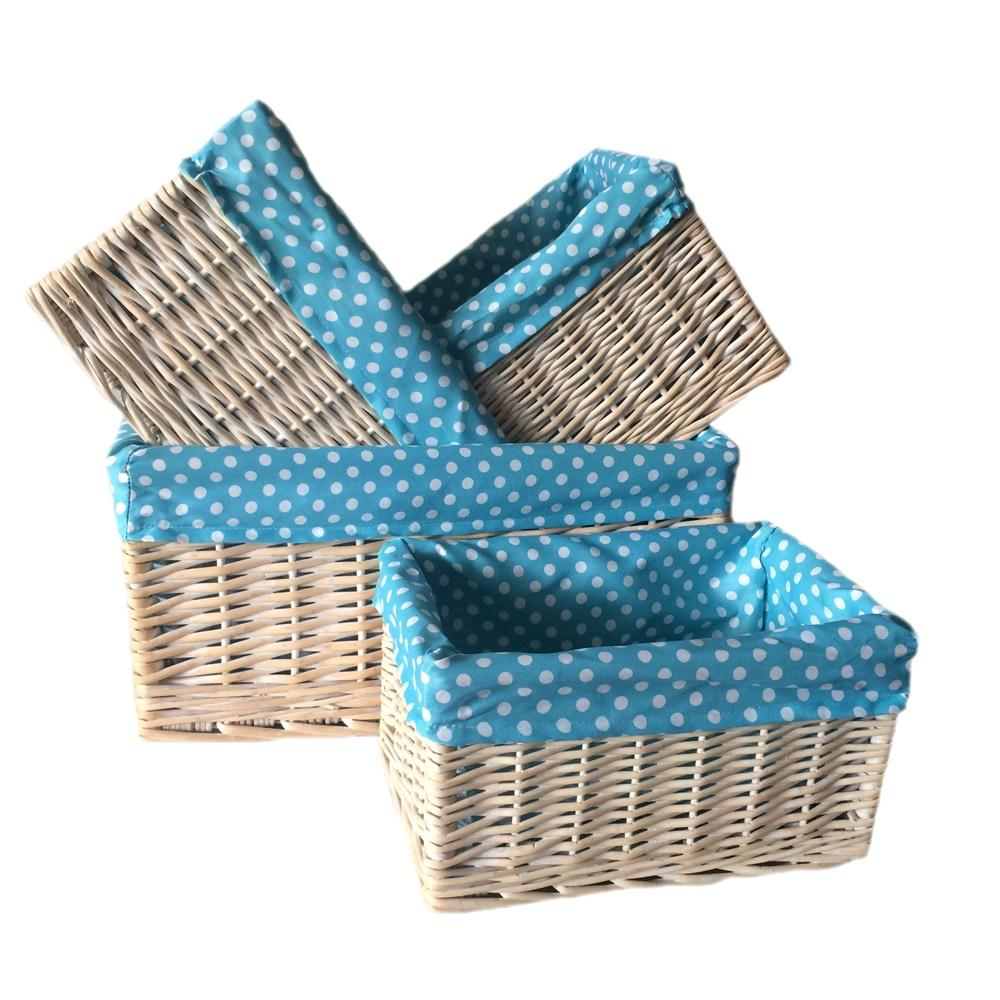 Blue Spotty Lined Wicker Storage Basket