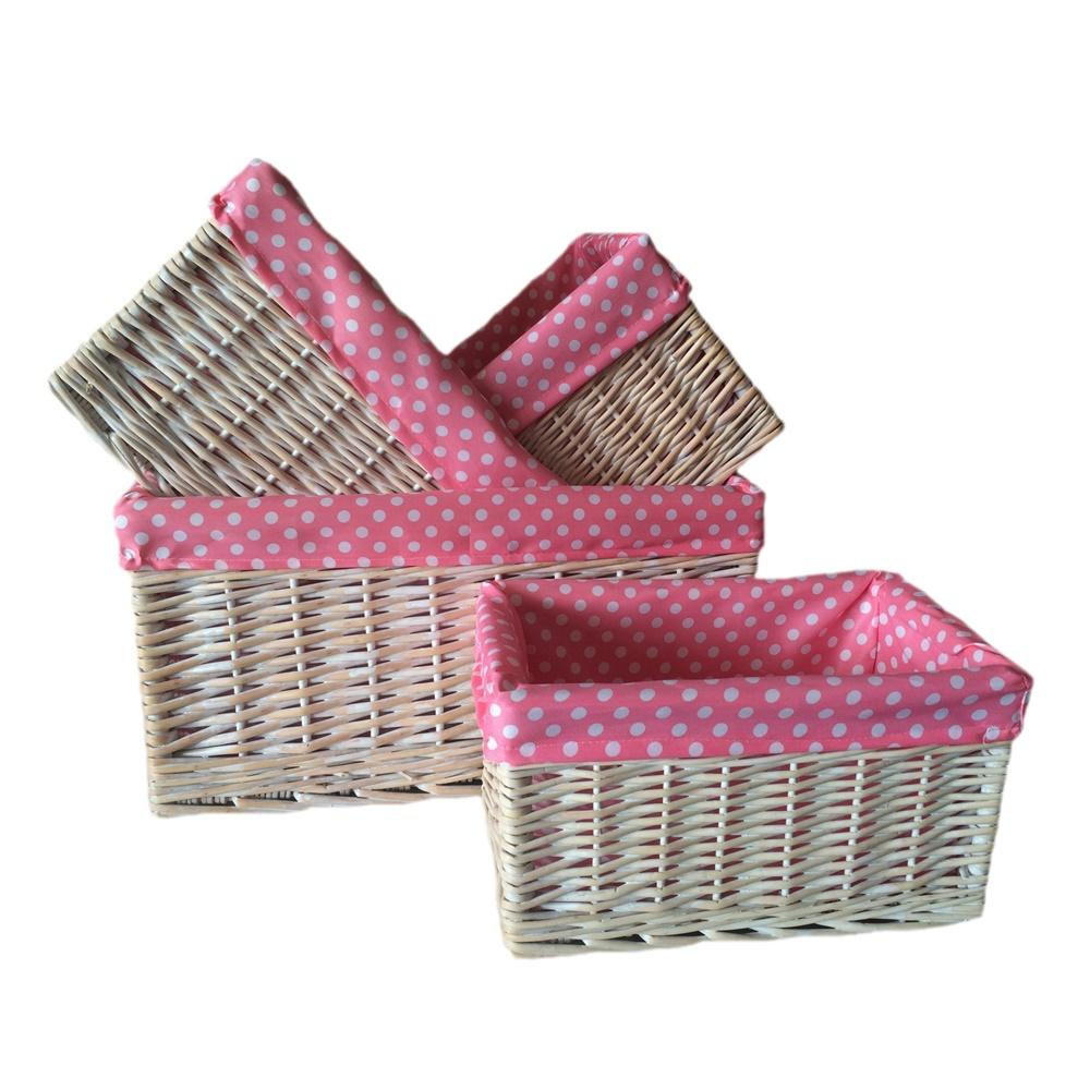 Pink Spotty Lined Storage Basket