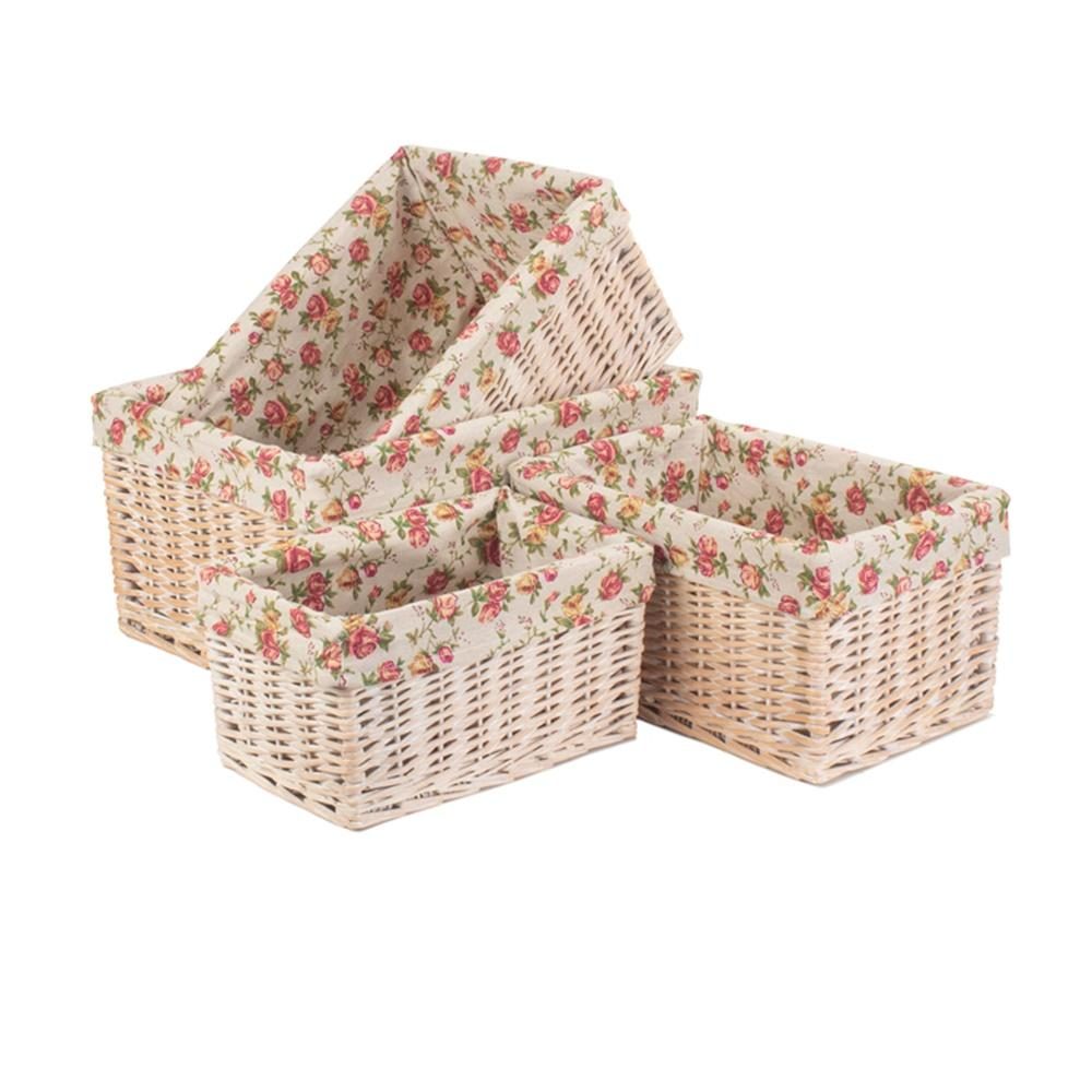 White Wash Garden Rose Lined Storage Basket
