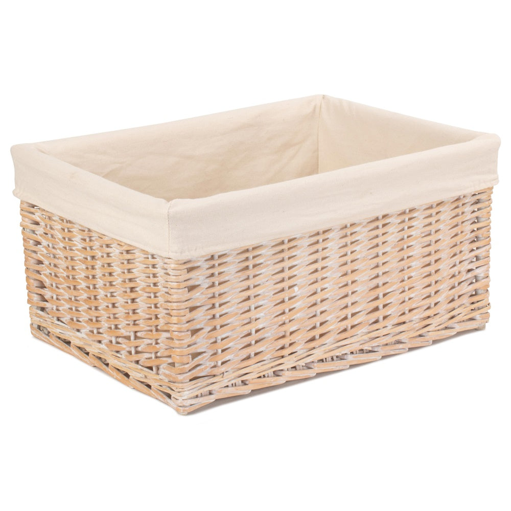 White Lined Storage Wicker Basket