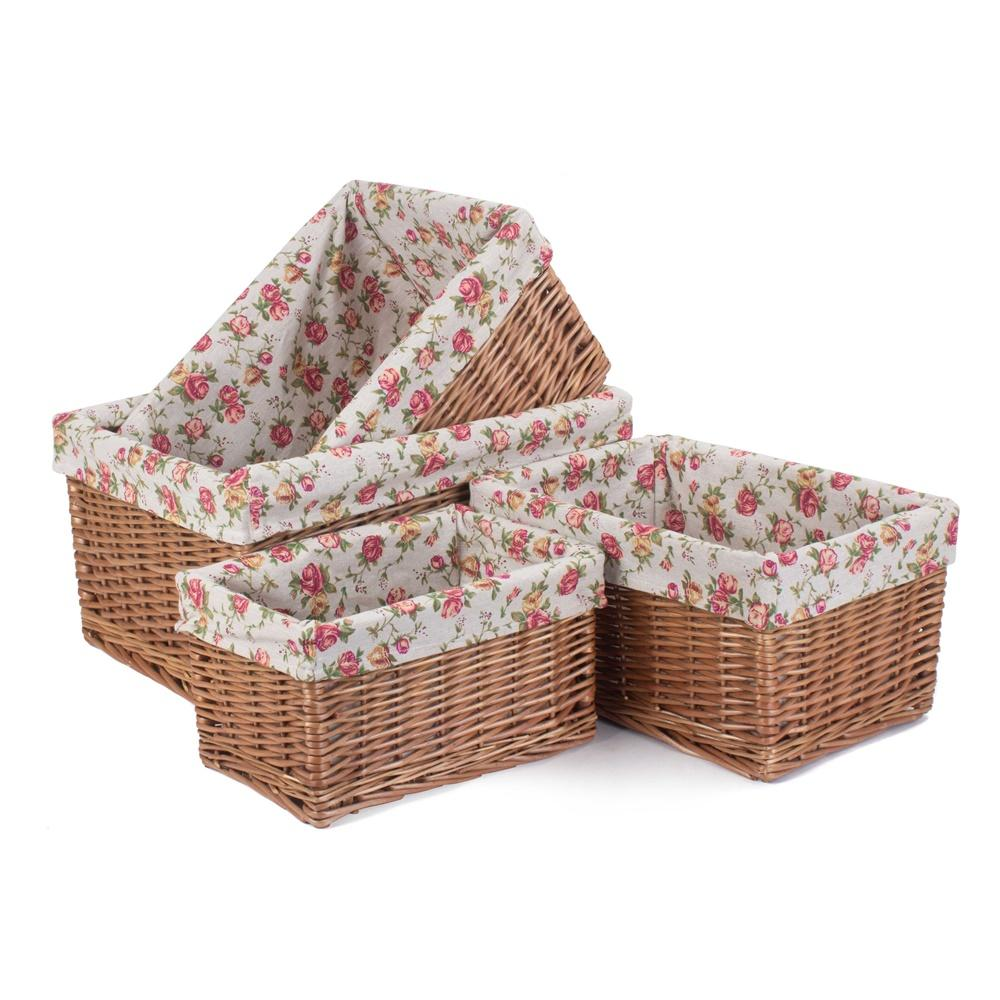 Double Steamed Garden Rose Willow Storage Baskets