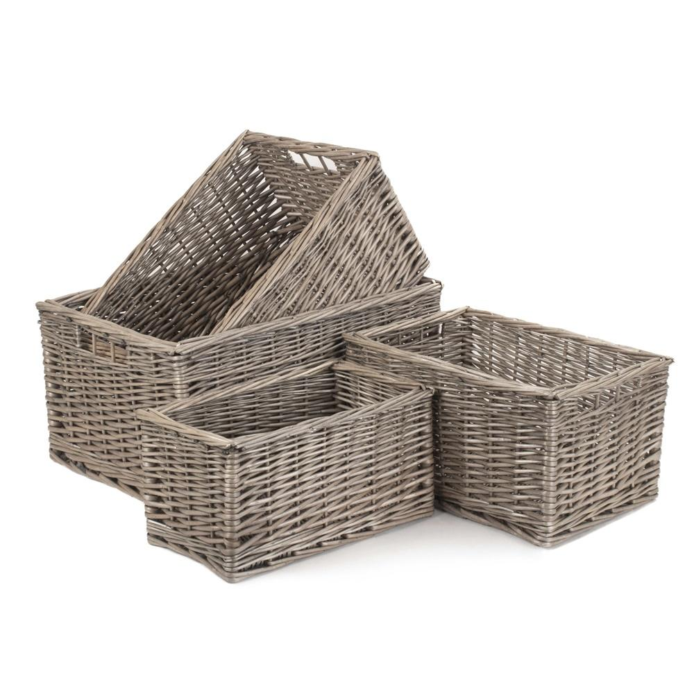Antique Wash Wicker Storage Basket