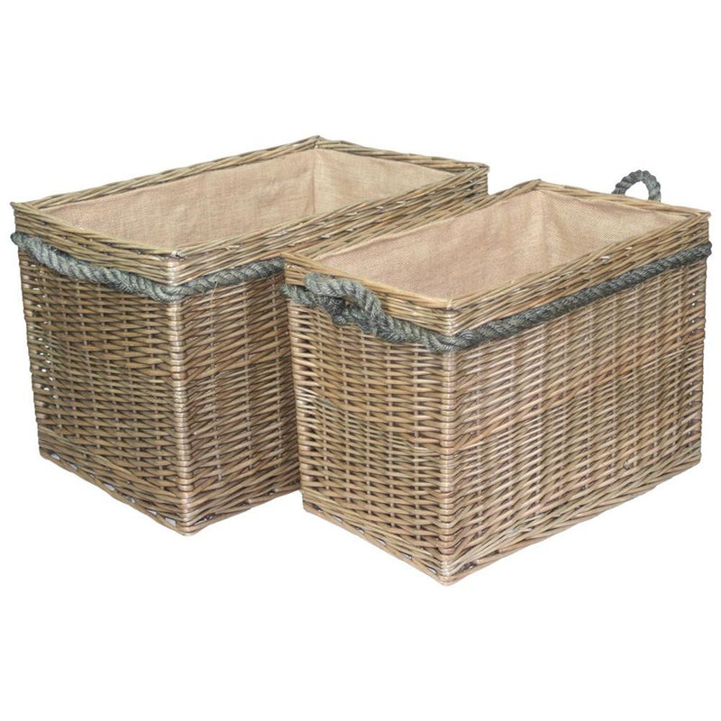 Rectangular Rope Handled Wicker Log Basket