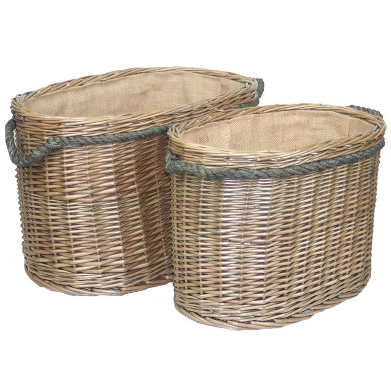 Oval Rope Handled Wicker Log Basket