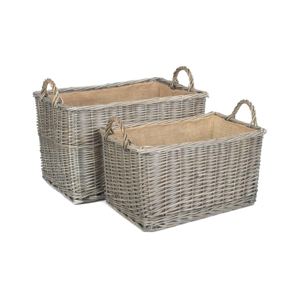 Antique Wash Rectangular Hessian Lined Wicker Log Basket