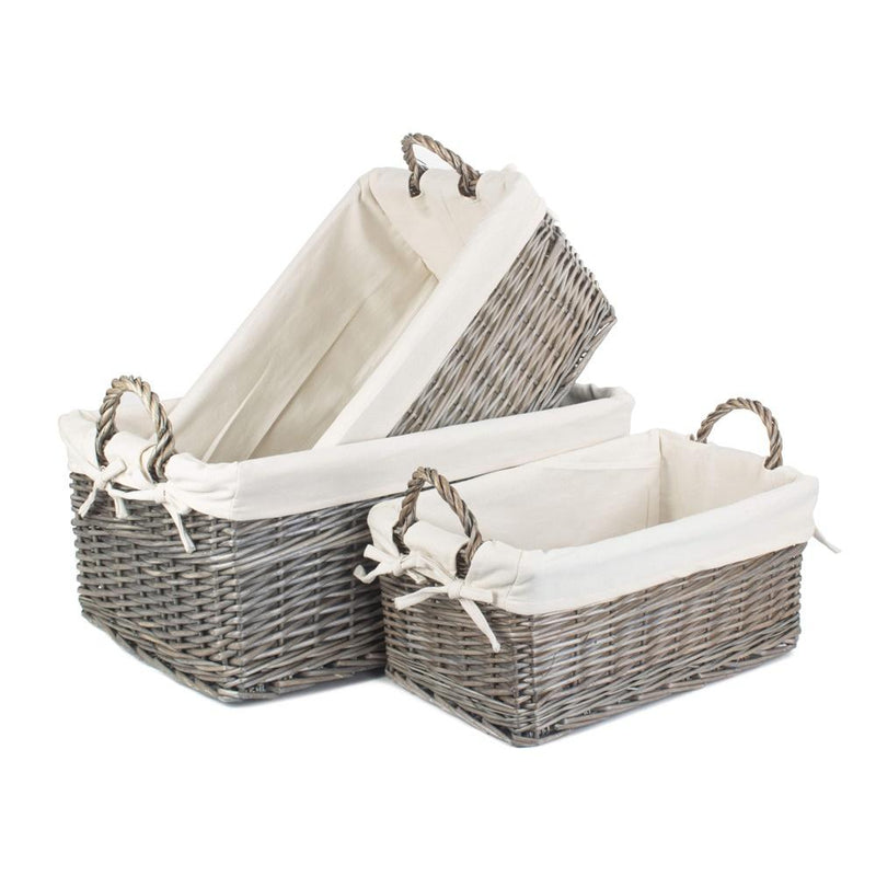 Shallow Cotton Lined Antique Wash Storage Wicker Basket
