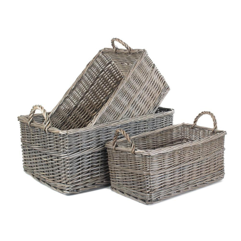 Shallow Antique Wash Storage Wicker Basket
