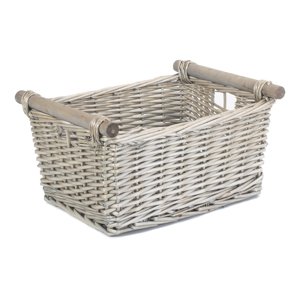 Grey Wash Wooden Handled Wicker Storage Basket